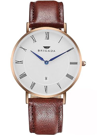 BRIGADA - Relojes de suizos para hombre y mujer, minimalista, para uso casual o