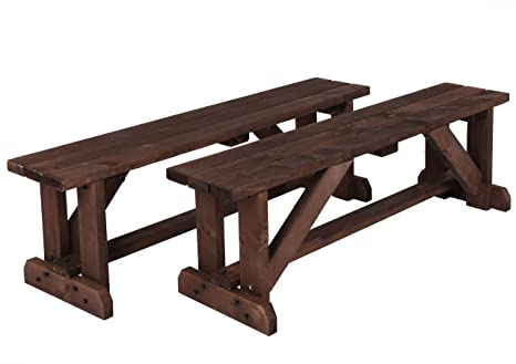 Excellent Mc Timber Products Ltd 5Ft Garden Bench Seats In Brown Stained Wood Set Of Two Seats Strong And Comfy With Extra Wide Seat Ncnpc Chair Design For Home Ncnpcorg