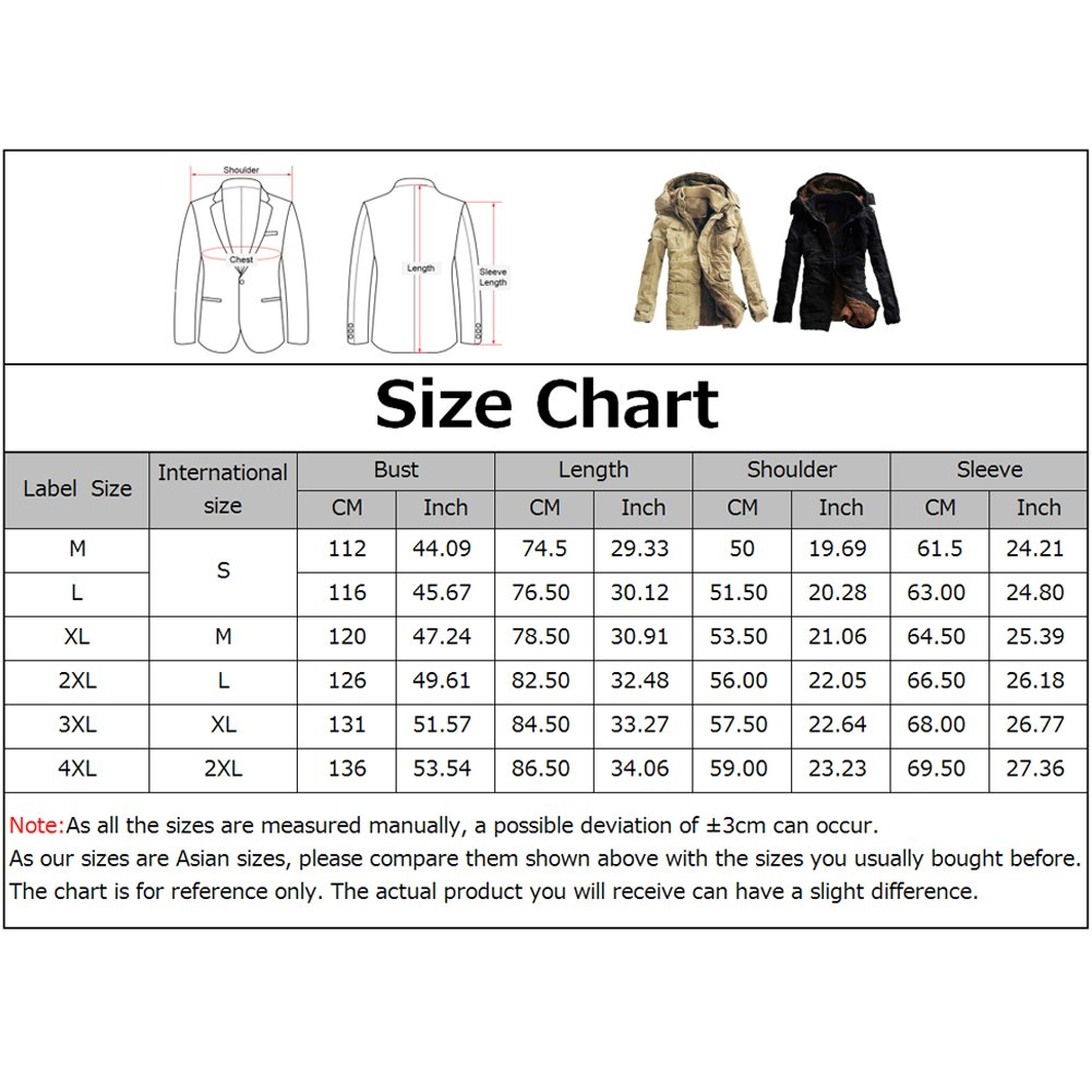 iShine Men's Fall Cotton Winter Casual Military Parka Jackets Thicken Outwear Warm Coat With Removable Hood