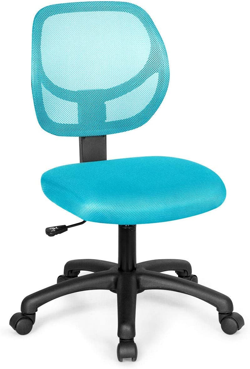 Giantex Low-Back Computer Desk Chair, Swivel Armless Mesh Task Office Chair Adjustable Home Children Study Chair w/Adjustable Height & Lumbar Support (Blue)