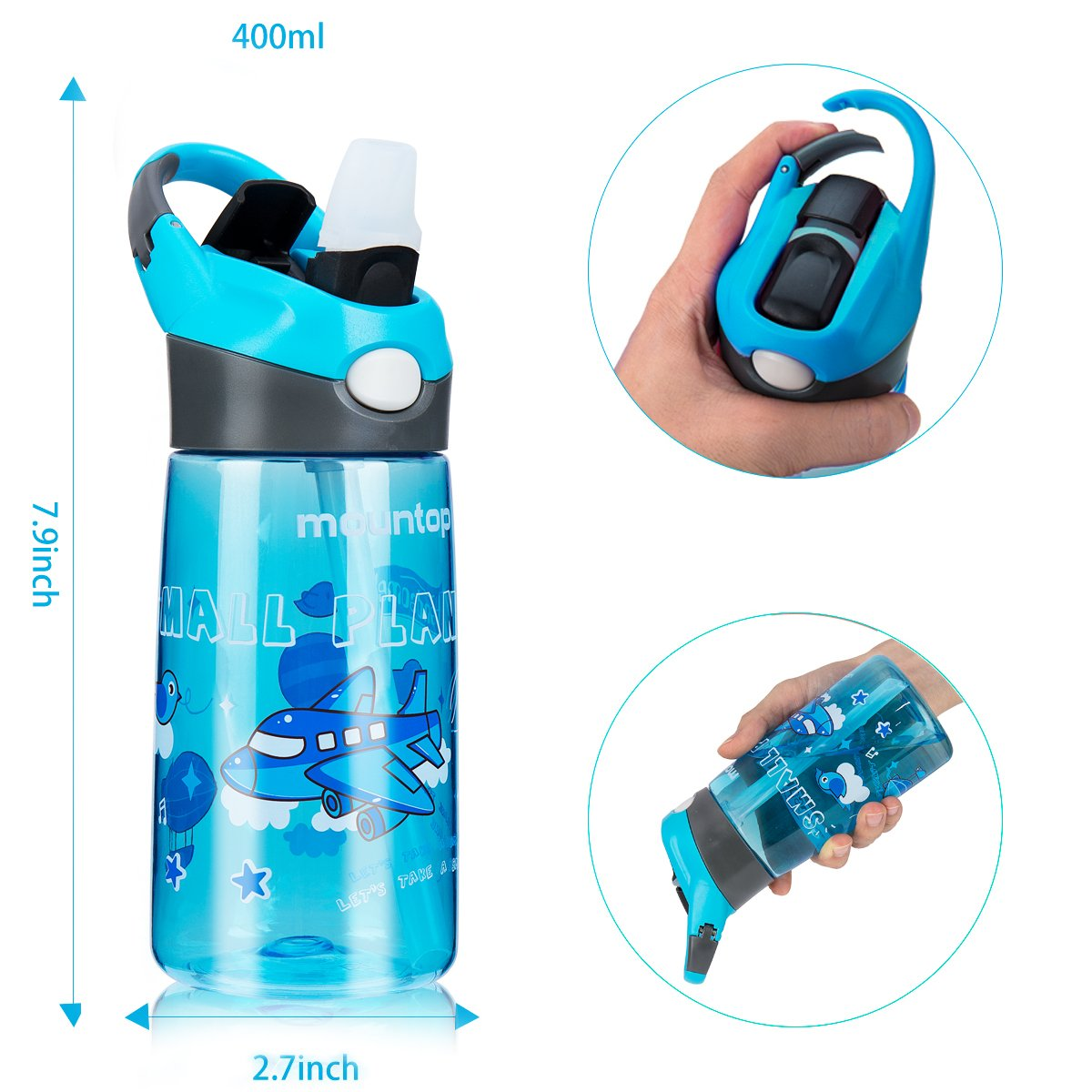 mountop Sports Water Bottle for Kids with Pop-up Straw and Clip Handle Non-Toxic /& Eco-Friendly 0.4L 14 oz