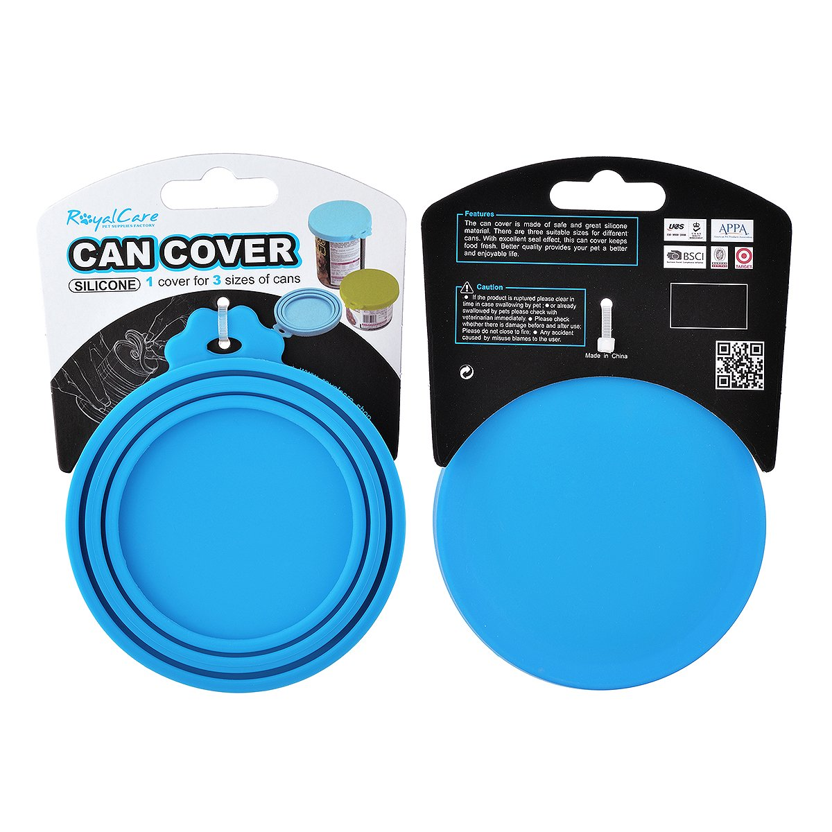 RoyalCare Can Covers Scoop Packaging, Dog Cat Food Lids Can Cover BPA Free Silicone and Dishwasher Safe for Multiple Sizes with Food Spoon