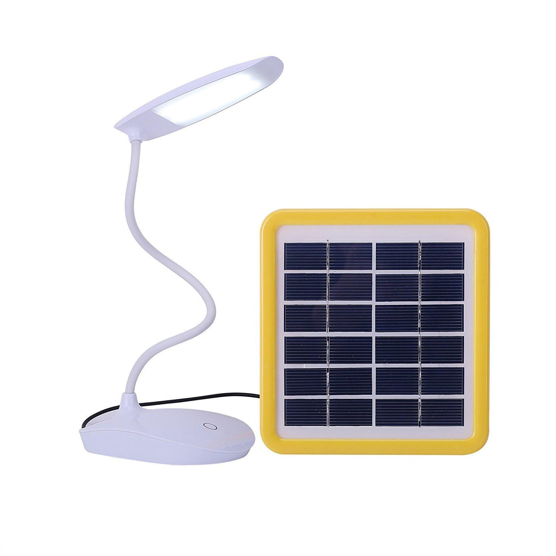 Lampe de table solaire,SUAVER Rechargeable Lampe Flexible,Veilleuse Lumi/ère Tactile,3 niveaux de Luminosit/é Lampe de Lecture Lampe de Chevet Blanc