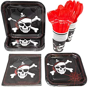 Amazon.com: Blue Orchards Pirate Party Supplies Pack (65+ ...