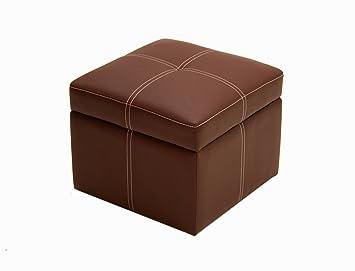 Delaney Small Square Storage Ottoman  Brown