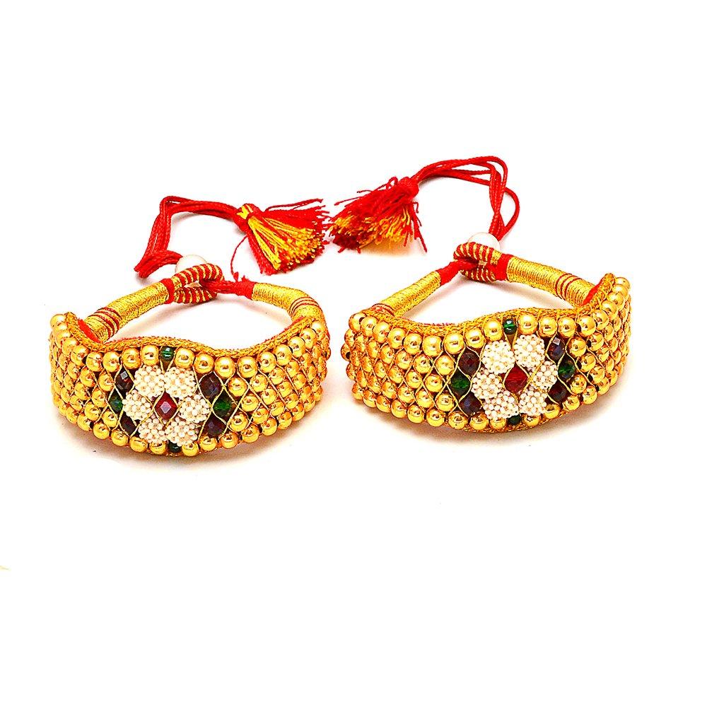 014a3a8db6a Jewar Mandi White Pearl Bangle Pocchi Pochi Pair Gold Plated Ruby cz  Gemstone Tanishq Real Diamond Look A D 64747 for Women