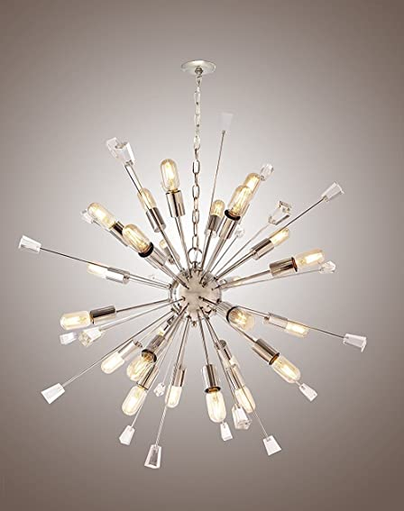 Decomust 40″ Large Mid Century Modern Sputnik Light Fixture / Italian Starburst Chandelier