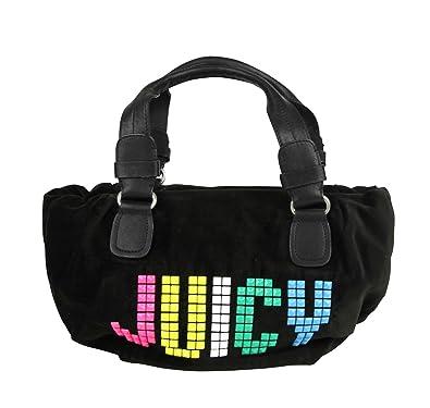 0e3f405a7c60 Amazon.com  Juicy Couture Studded Black Velour Rainbow Etiquette Satchel Bag  YHRU1875 013  Shoes