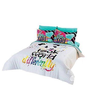 JORGE'S HOME FASHION Panda Bear Teens Girls Chic Comforter Set and Sheet Set 7 PCS Full Size: Home & Kitchen