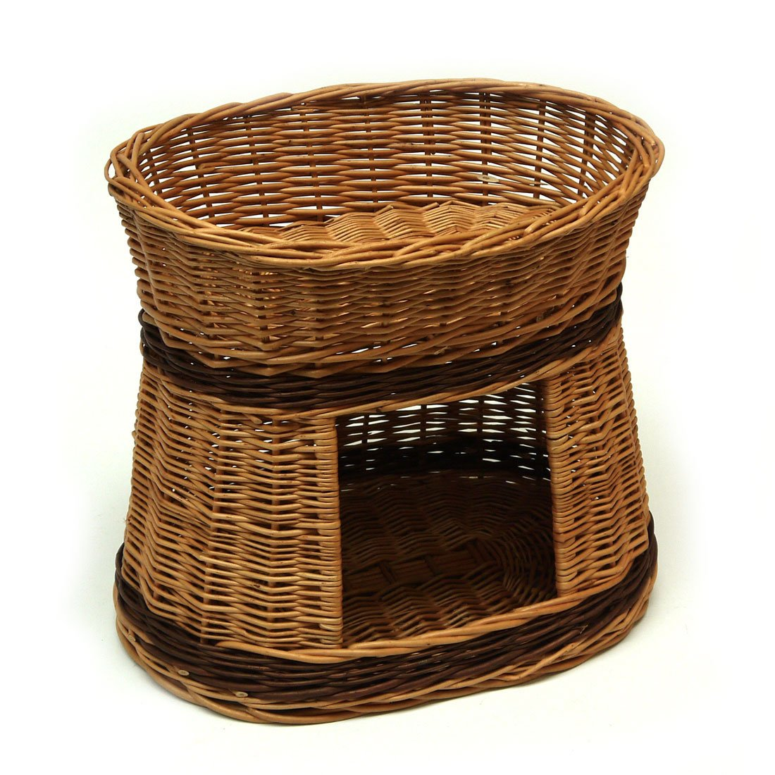 Wicker Oval Two Tier Pet Bed Basket House