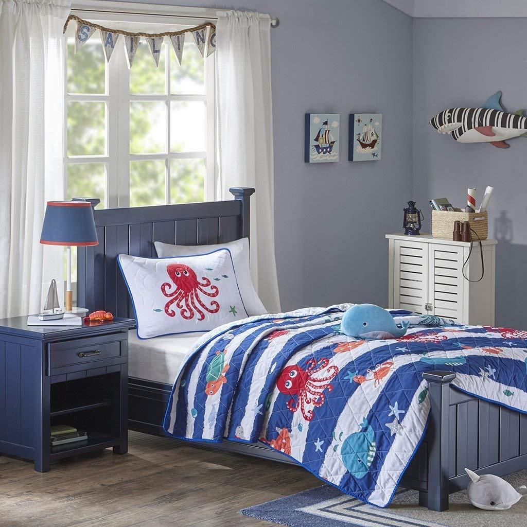 Mi Zone Kids Sealife Twin Bedding Sets Boys Quilt Set - Blue, Octopus – 3 Piece Kids Quilt for Boys – Ultra Soft Microfiber Quilt Sets Coverlet