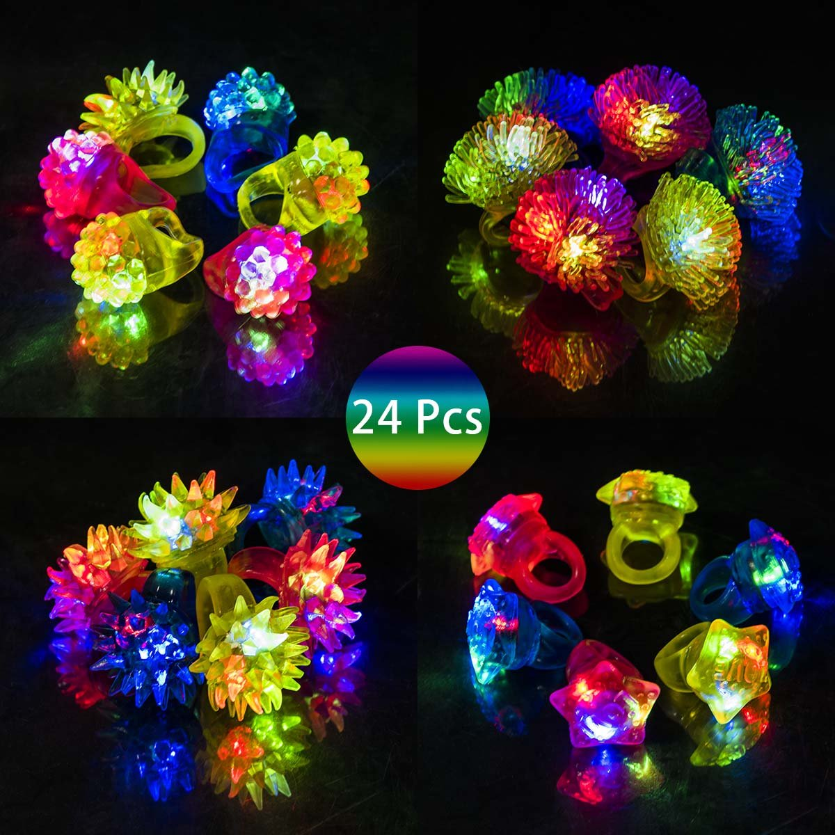 GIGALUMI Flashing LED Light Up Rings, Novelty LED Bumpy Ring for Party Favors, Kids. 24-Pack