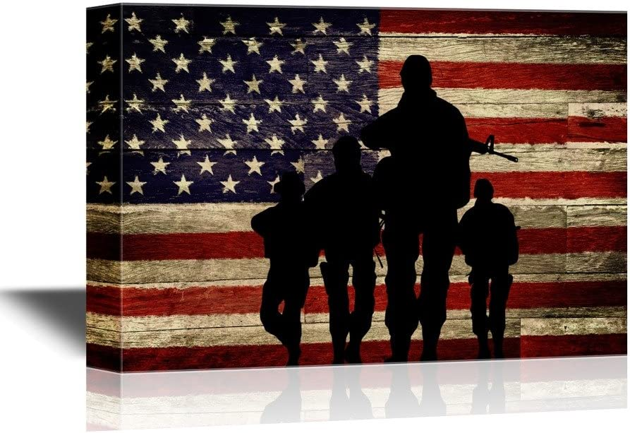 wall26 Military Family Canvas Wall Art - Silhouette of Troops on American Flag Background - Gallery Wrap Modern Home Decor   Ready to Hang - 12x18 inches