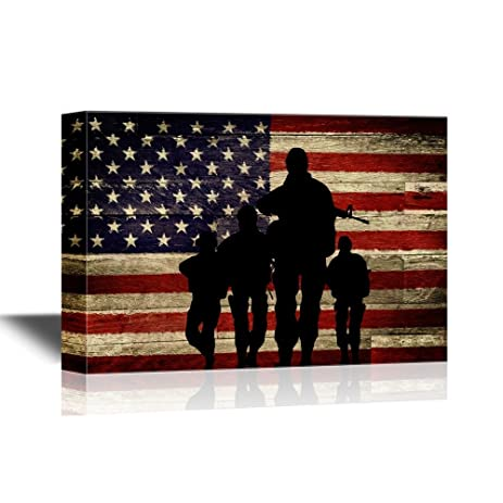 Wall26   Military Family Canvas Wall Art   Silhouette Of Troops On American  Flag Background