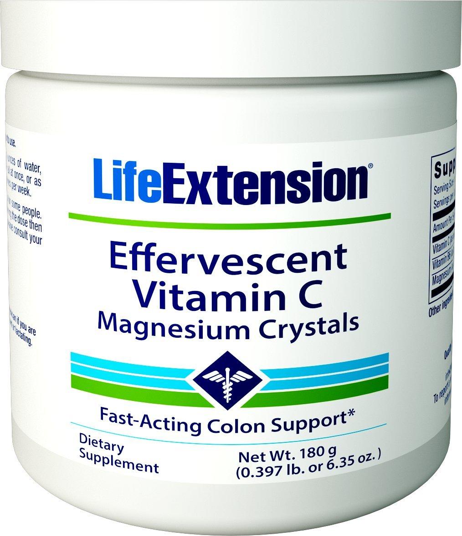 Life Extension Effervescent Vitamin C-Magnesium Crystals, 180 grams