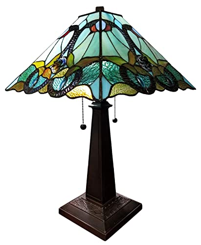 Tiffany Lamp W12H18 Inch Hummingbird Stained Glass Reading Table Beside Desk Light 1 Bulb Antique Art Zinc Base Decorate for Girlfriend Living Room Bedroom S101 WERFACTORY