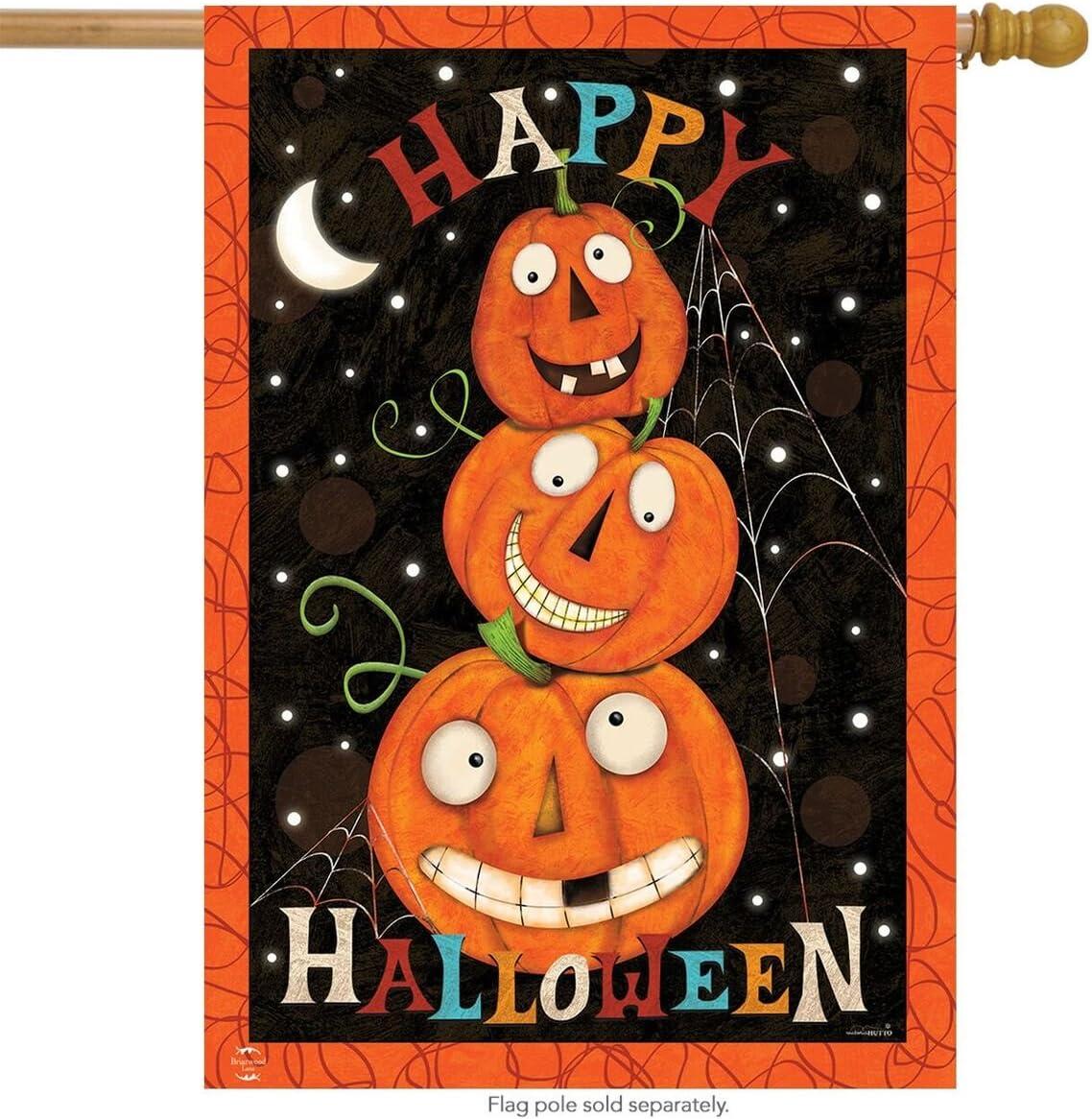 Briarwood Lane Happy Jacks Halloween House Flag Jack O'Lantern Holiday 28