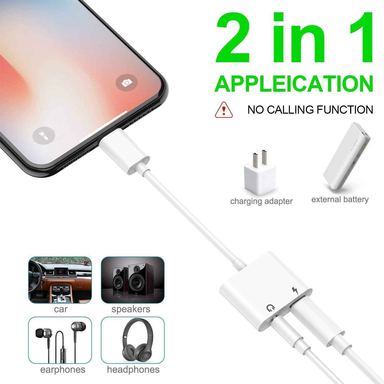 LAXTEK – iPhone Audio Headphone 2 in 1 Charge Audio Jack Adapter 3.5mm Dual Adaptor Earphone aux Splitter Compatible iPhone/iPad