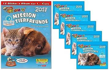 Panini – Amici cuccio Lotti Mission de Animales 2017 Juego álbum de Recortes + 6 Booster