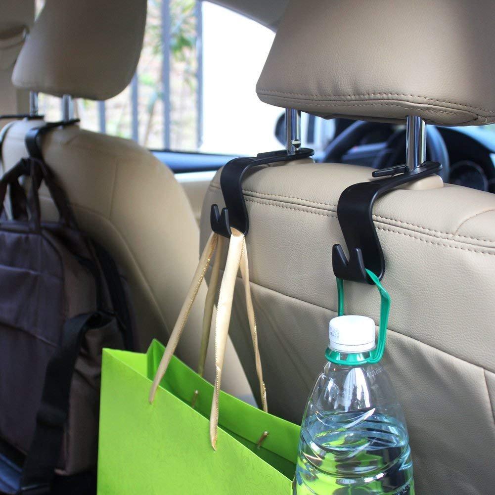 Car SUV Back Seat Headrest Hanger Storage Hooks Purse Handbag Grocery Bag Kids Toy Holder 4 Pack DD GOODS Car Headrest Hook