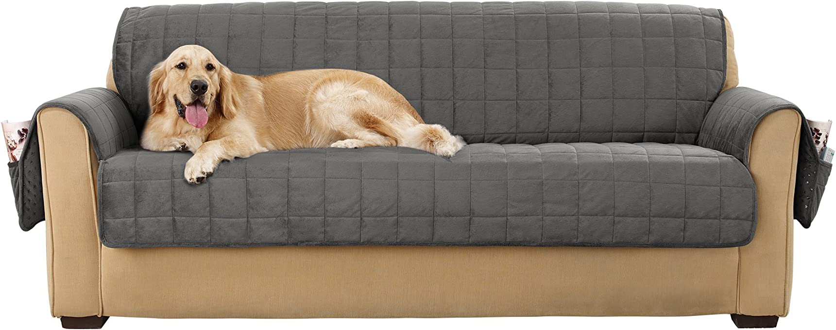 Sure Fit Deep Pile Velvet Sofa Furniture Cover - Carbon (SF43741)