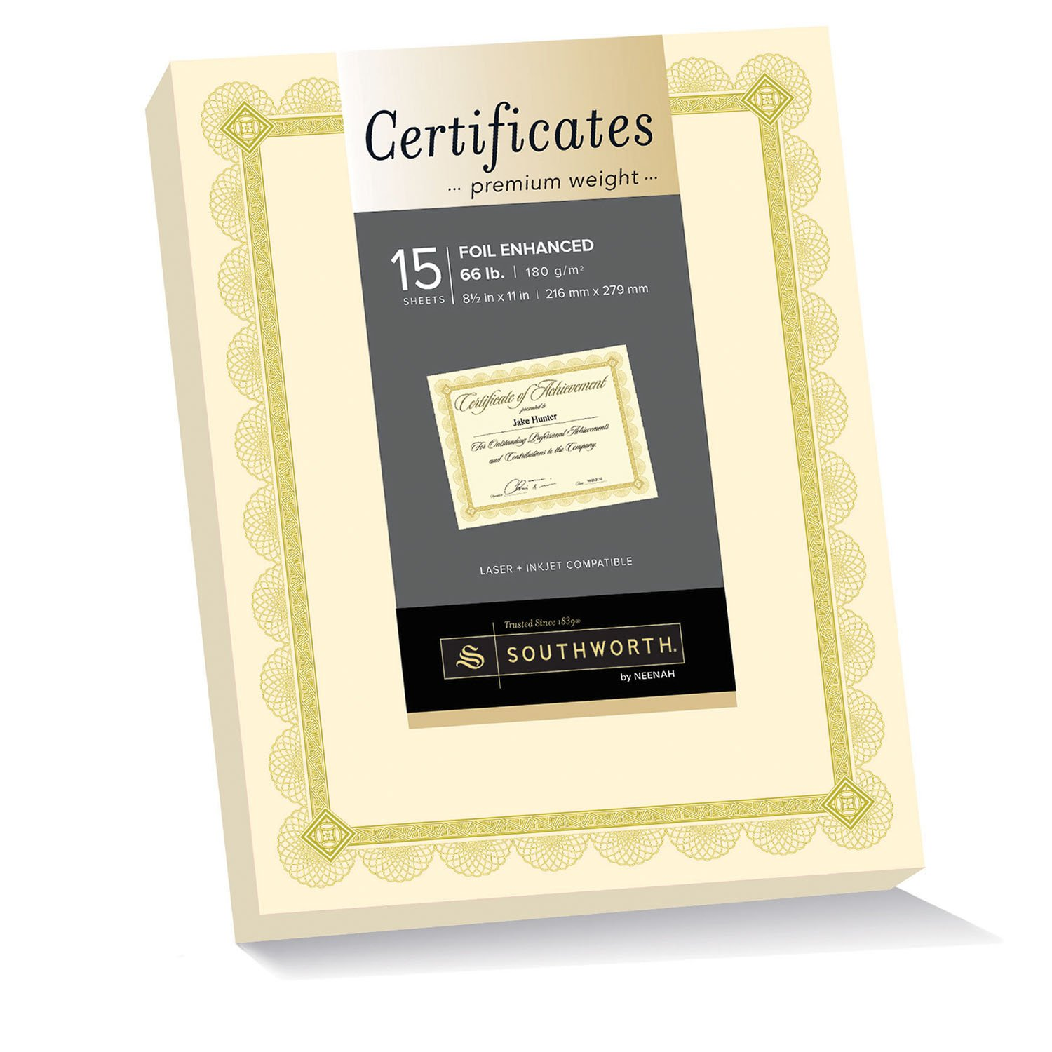 Southworth Premium Weight Certificates, Spiro Design, Gold Foil, 66 lb, Ivory, Pack of 15 (CTP2V) NEENA