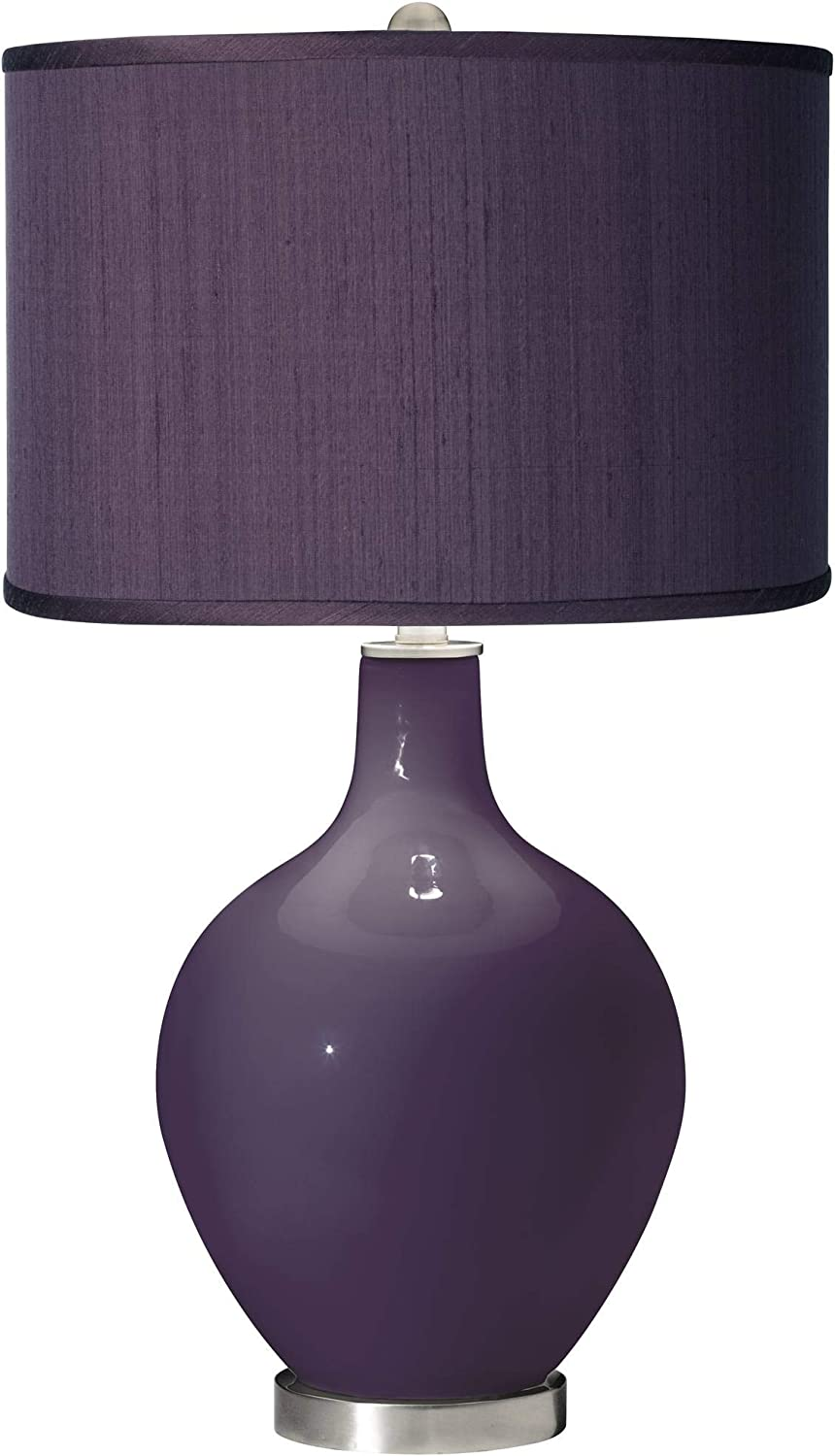 Modern Contemporary Table Lamp Quixotic Plum Glass OVO Eggplant Faux Silk Fabric Drum Shade Decor for Living Room Bedroom House Bedside Nightstand Home Office Reading Family - Color + Plus