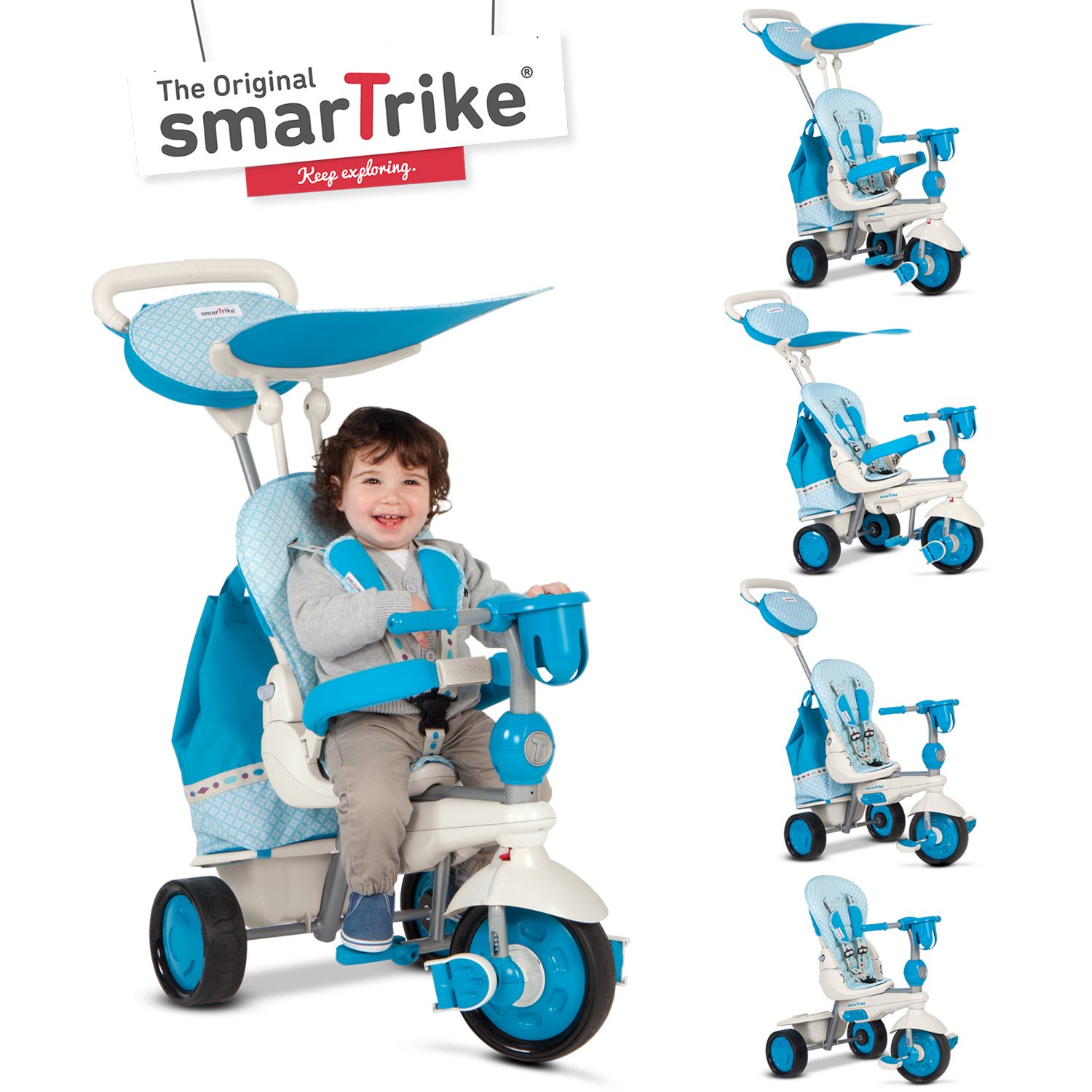 smarTrike Explorer 5 in 1 Baby Trike Light Weight 13.2 Pounds With Foot Rest Reclining Seat Quiet Ride Wheels Cup Holder Storage Bag and Padded Seat - Blue