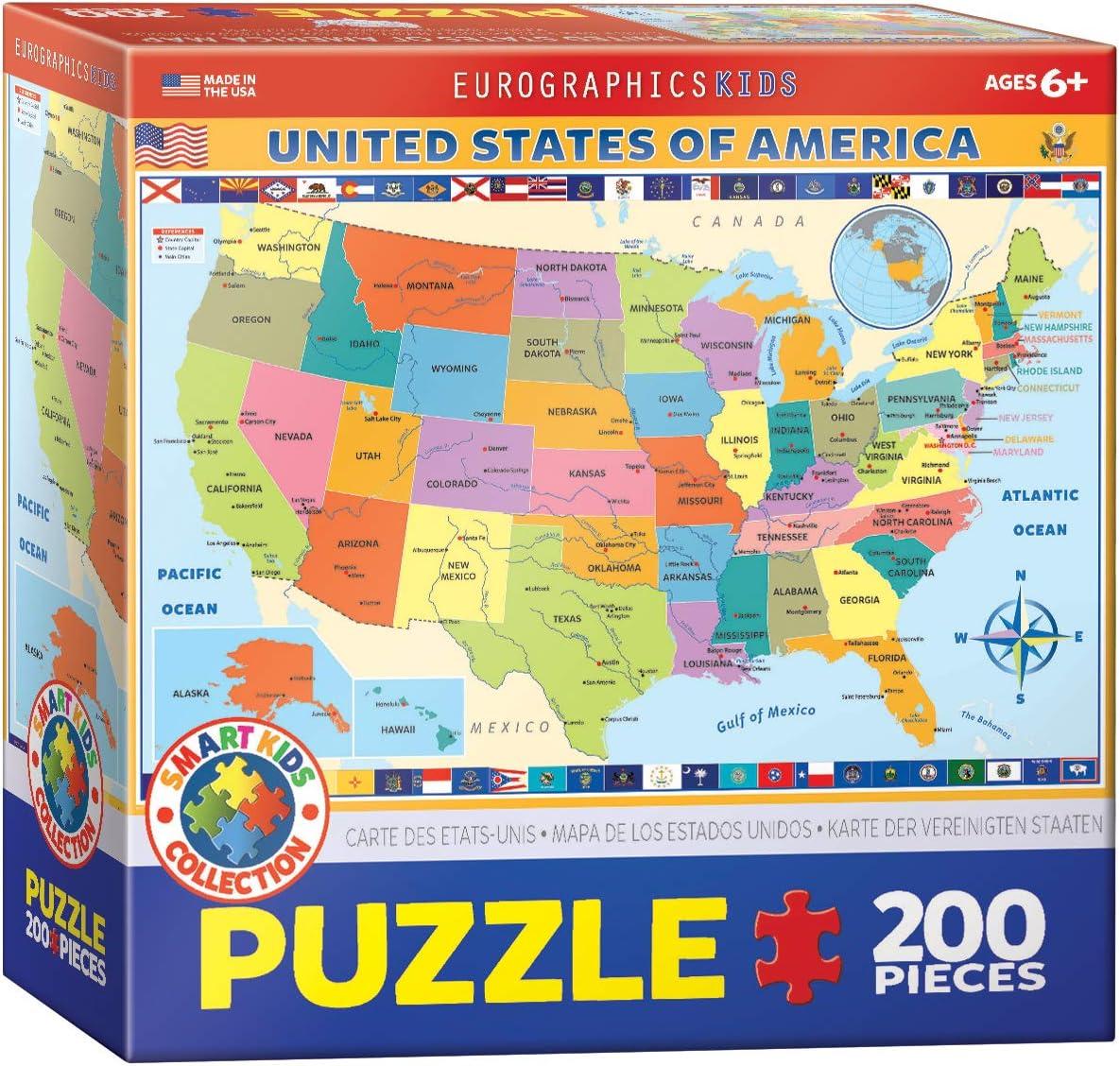 Eurographics Mapa de The US Puzzle (200 Piezas): Amazon.es: Juguetes y juegos