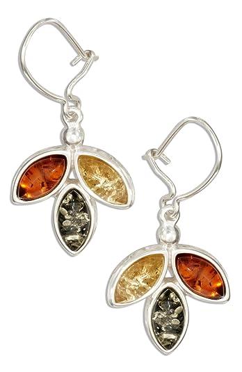Multicolor Amber Sterling Silver Marquise Long Earrings 8xjdKI