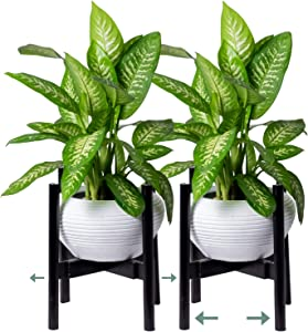 Encore Essentials Bamboo Plant Stand - Set of 2 Adjustable Wooden Planter Holder Flower Pot Stands - Mid Century Modern Wood Plant Stand for Indoor Outdoor Live & Artificial Potted Plants