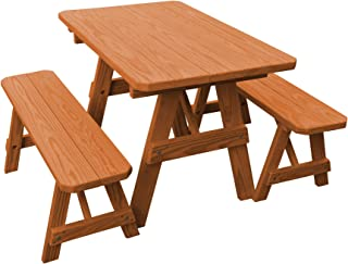 product image for Pressure Treated Pine 4 Foot Picnic Table with Detached Benches - Cedar Stain