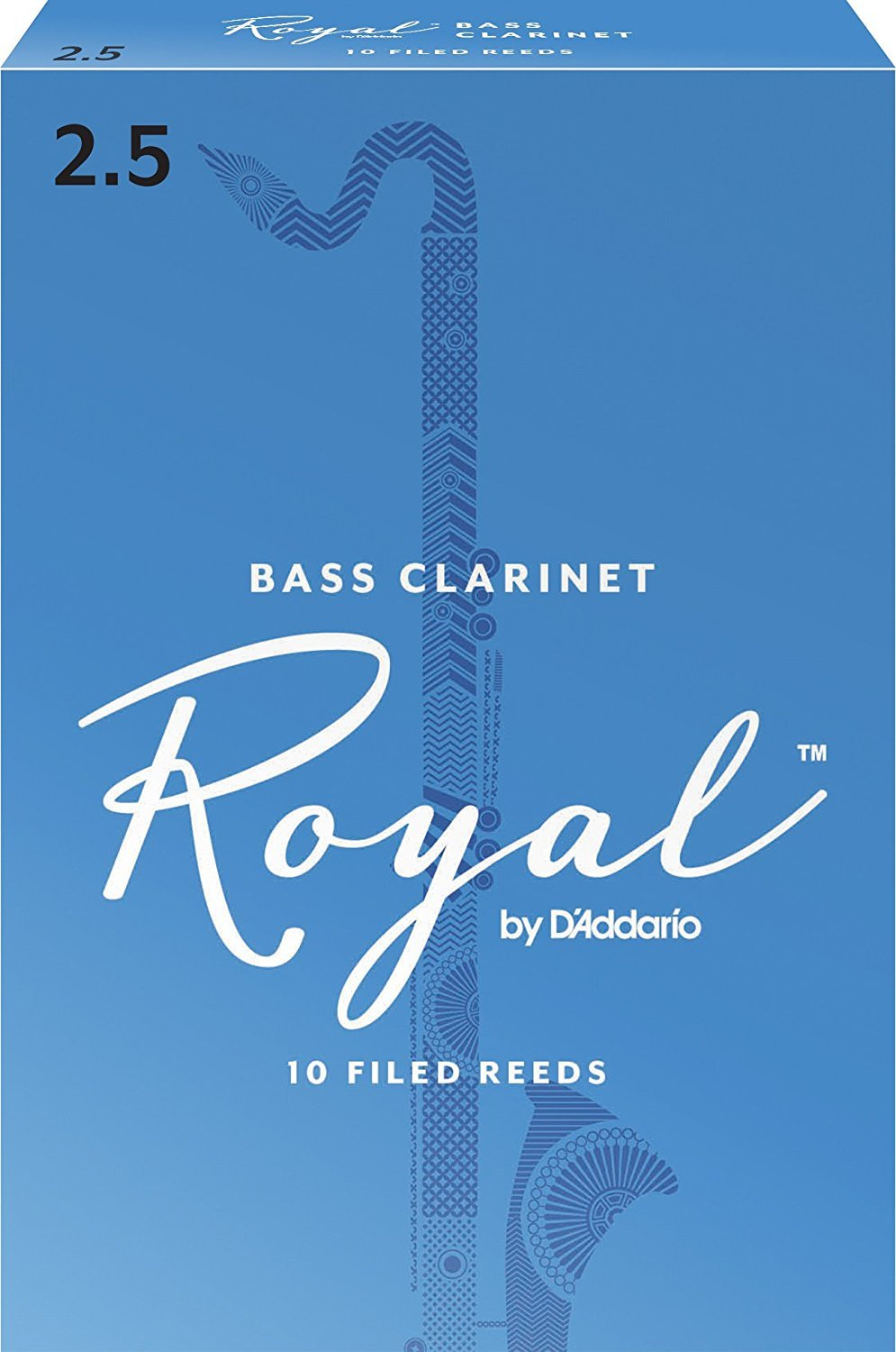 Royal by D'Addario REB1025 Bass Clarinet Reeds, Strength 2.5, 10-pack