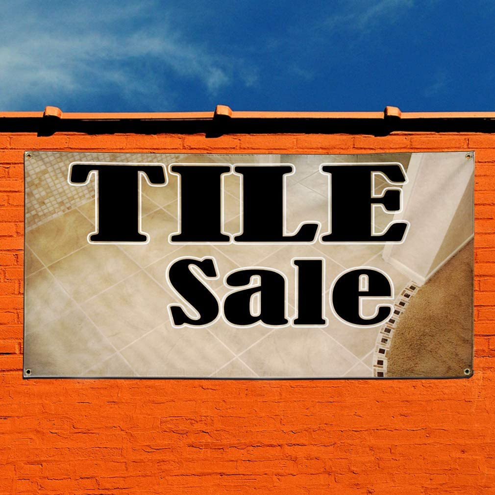 Vinyl Banner Sign Tile Sale Brown Black Business Sale Marketing Advertising Brown 8 Grommets 44inx110in Multiple Sizes Available One Banner