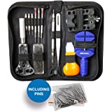 MMOBIEL 144 PCS Professional Watchmaker Repair Tool Kit Incl. Watch Spring Pin Bars and Back Case Opener Screw Wrench for Inserting Batteries in Nylon Bag