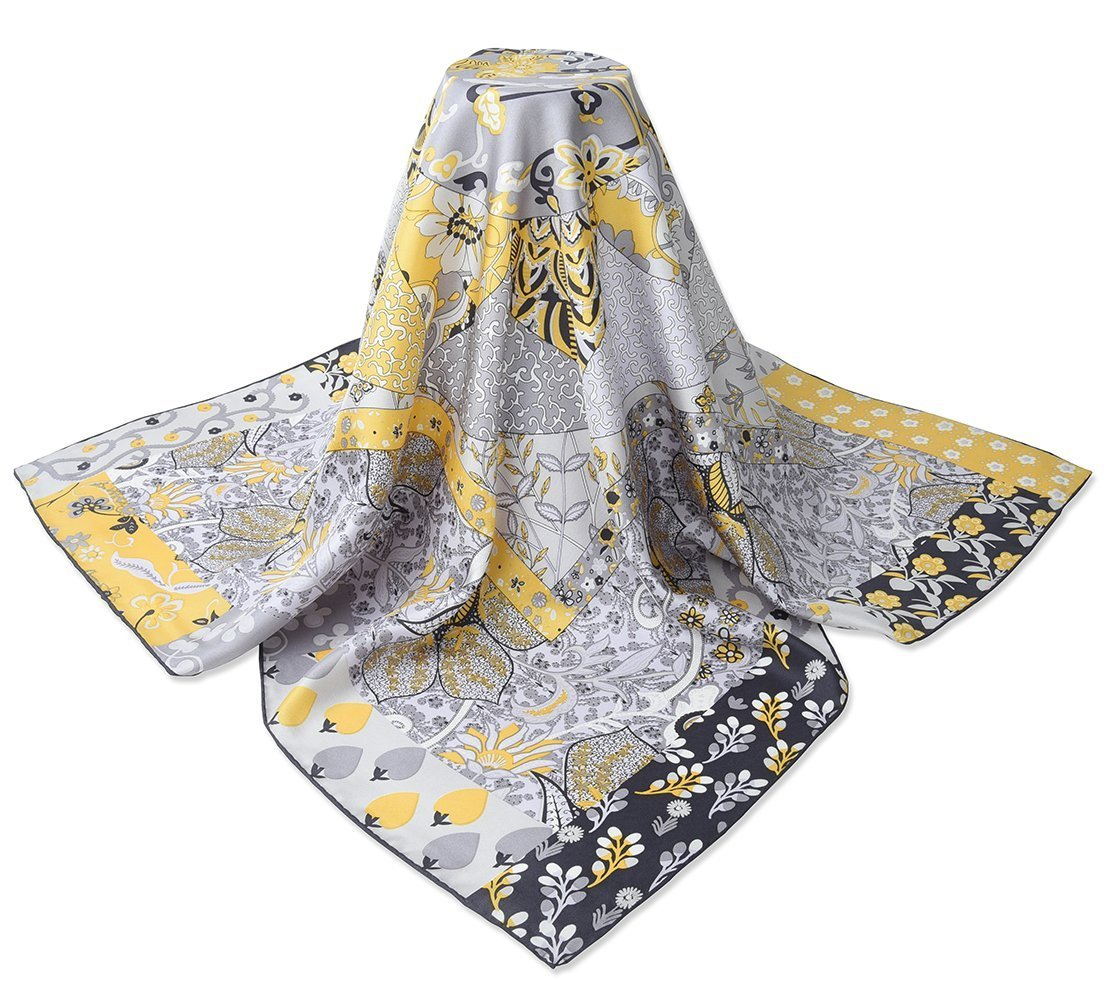 corciova 35'' 14 Timmy Twill 100% Real Mulberry Silk Square Women Scarfs Scarves Gainsboro Jasmine Flowers Patterns