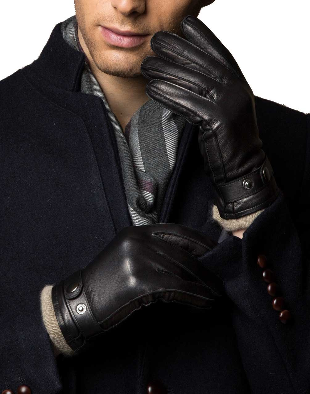 YISEVEN Men's Touchscreen Lambskin Leather Dress Gloves Cashmere Fur Lined Genuine Luxury and Hand Warm Heated Lining for Winter Driving Motorcycle Work Xmas Gifts, Black 8.5''/M