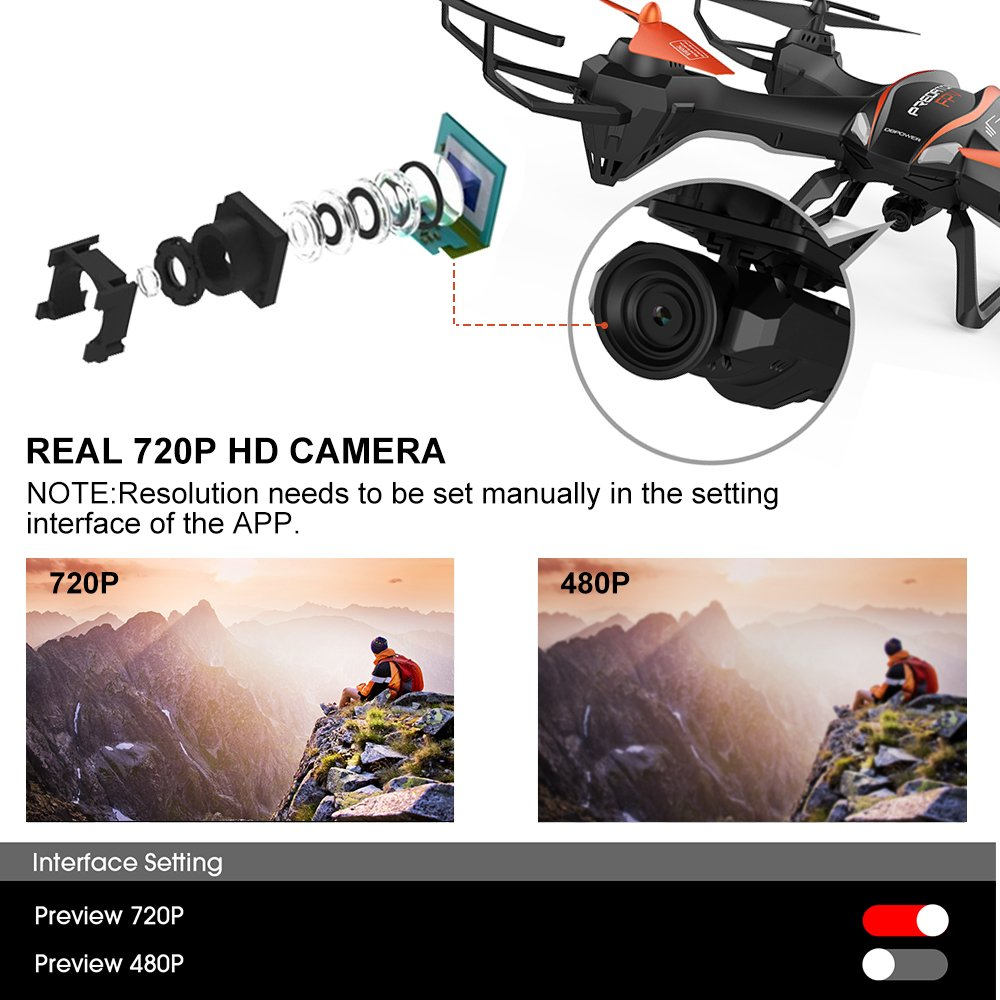 Amazon DBPOWER Predator U842 WIFI RC Quadcopter Drone With HD Camera 24G 4CH 6 Axis Gyro Headless Mode For Beginners Big Size Black Outdoor Use
