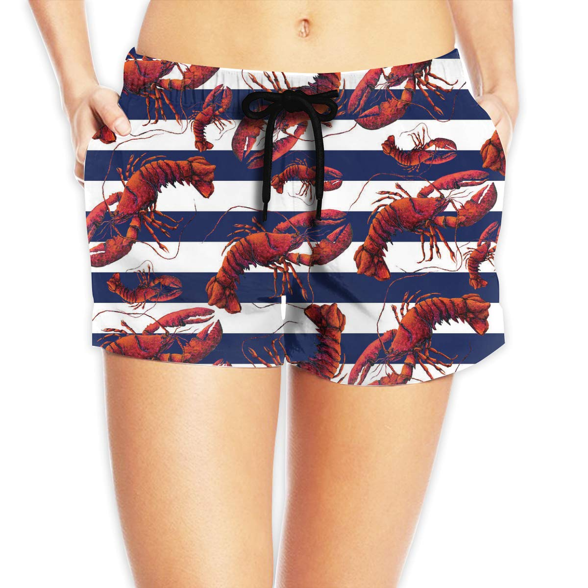 EYFlife Red White and Blue Striped Lobster Women Soft Elastic Shorts Casual Beach Shorts with Drawstring