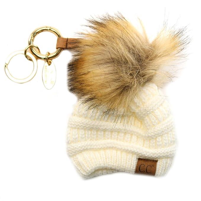 99ed87874 CC Miniature Solid Beanie Cap Hat Fur Pom Pom Handbags Bag Key Ring ...