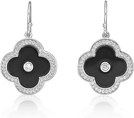 Black Onyx Drop Dangle 18K Gold Plated 925 Sterling Silver Earrings Jewelry