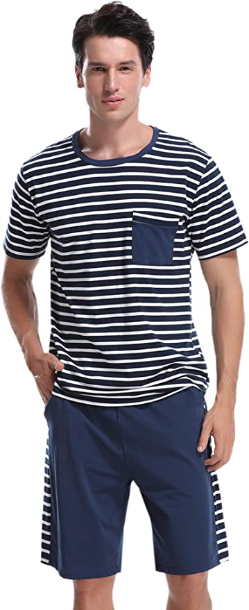 Aibrou Pijama Hombre Corto Raya Verano Set, Pijama Algodón Camiseta y Pantalones Suave Comodo Ropa de Dormir para Hombre: Amazon.es: Ropa y accesorios