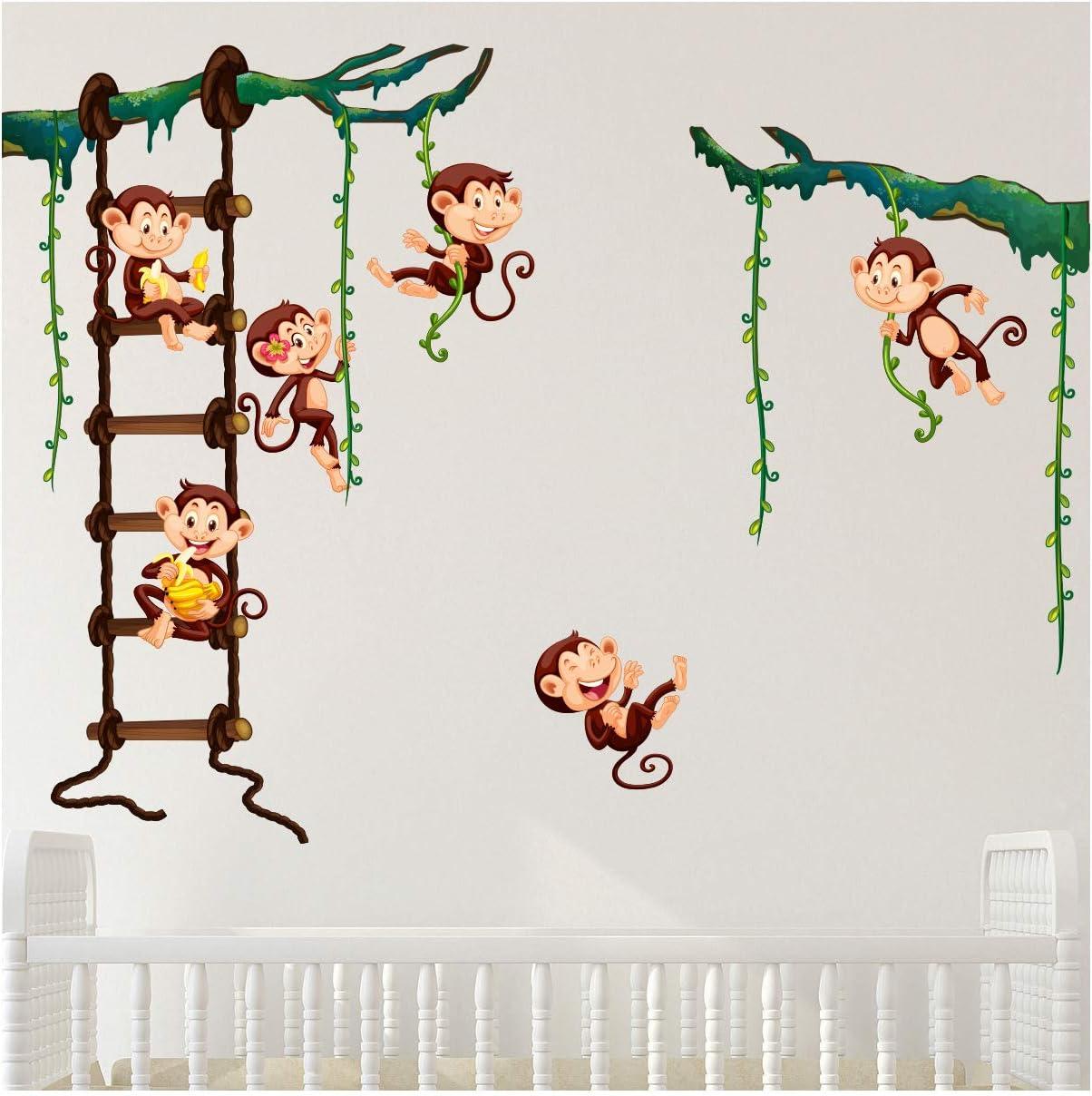 Amovible Stickers Muraux Animaux Chambre Denfants Kids Stickers Muraux Chambre B/éb/é Kibi Autocollants Animaux Arbre De Pont En Bois De Croix De Lion Sticker Mural