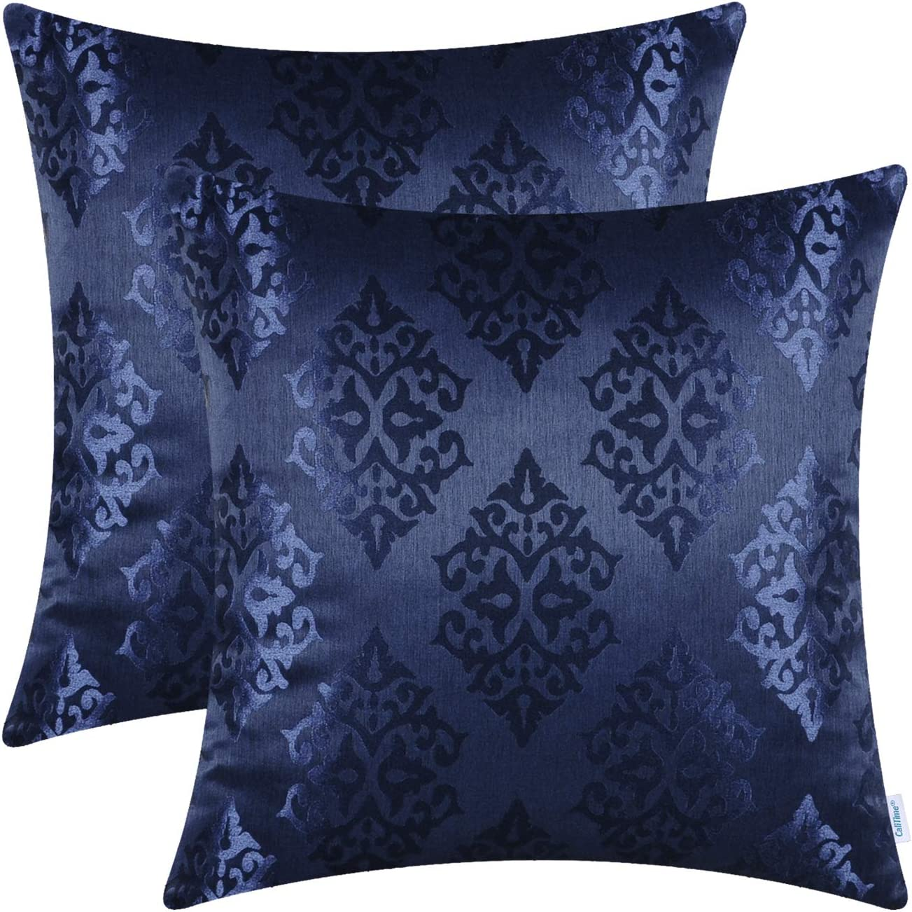 CaliTime Pack of 2 Throw Pillow Covers Cases for Couch Sofa Home Decoration Vintage Damask Shining & Dull Contrast 18 X 18 Inches Navy Blue