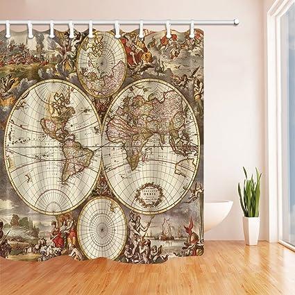 Amazon.com: Ancient Rome World Map Globe Personality Shower Curtain ...