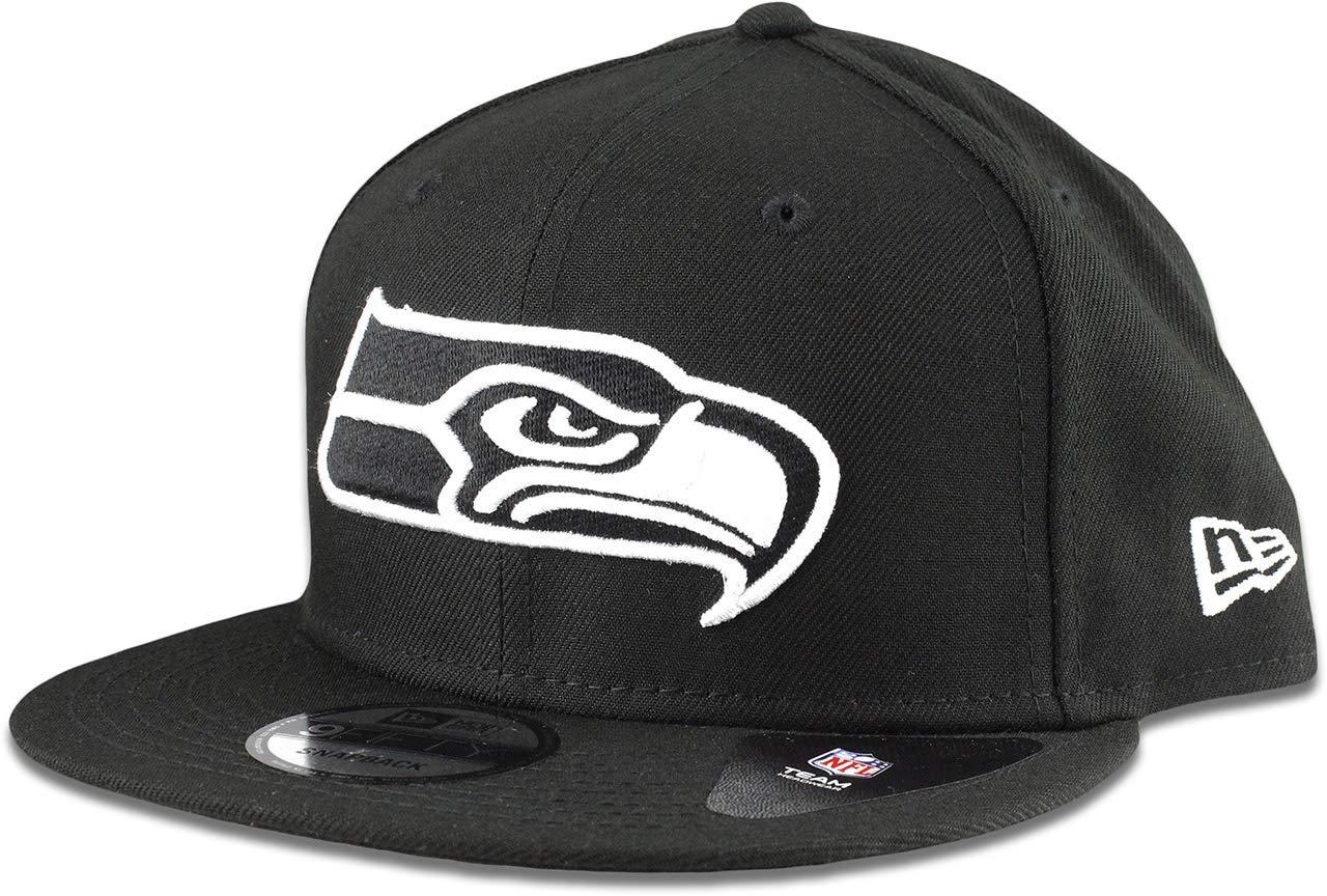 b17f0a9b407 Amazon.com   New Era Seattle Seahawks Hat NFL Black White 9FIFTY Snapback  Adjustable Cap Adult One Size   Sports   Outdoors