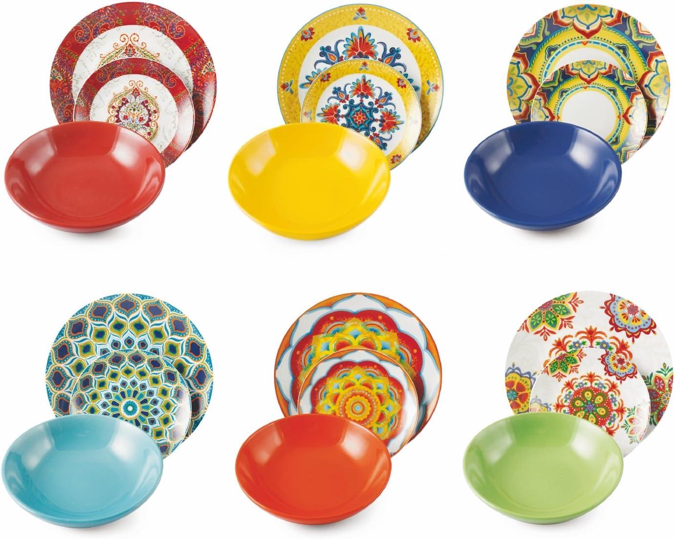 Juego de 18 Platos de Gres y Porcelana de Varios Colores