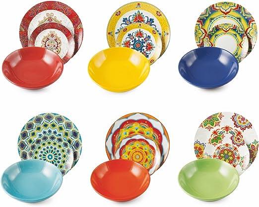 Villa d Este Home Service de table 18/pi/èces Rio Multicolore