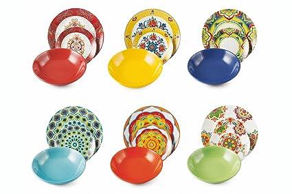 Villa D Este Servies.Villa D Este Calamoresca 18 Piece Dinner Set Porcelain And Stoneware Multicolour