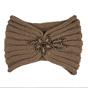 Amazon.com   Embellished Knit Turban Headband (Brown)   Beauty 08e72996eac